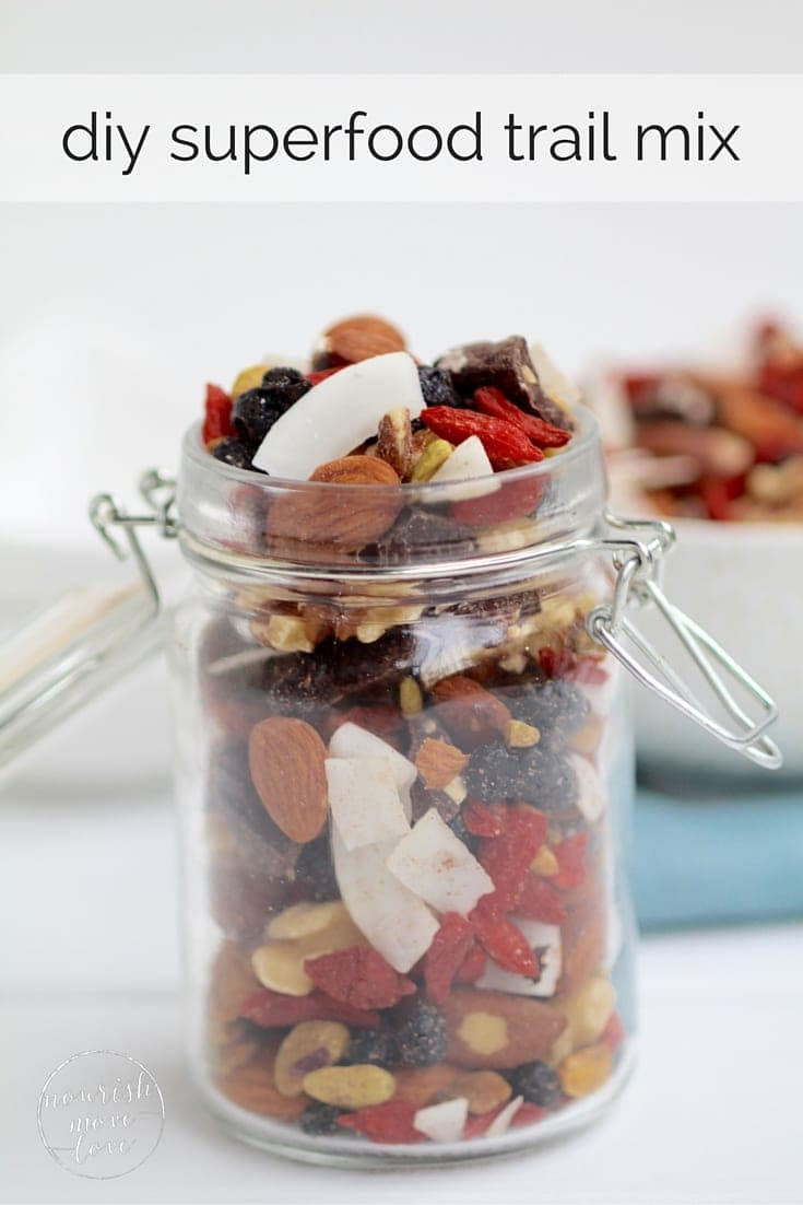 healthy superfood trail mix | go nuts! this delicious blend of crunchy, chewy, sweet, and satisfying superfood trail mix is sure to curb every snack craving and deliver a sustainable burst of energy. | www.nourishmovelove.com