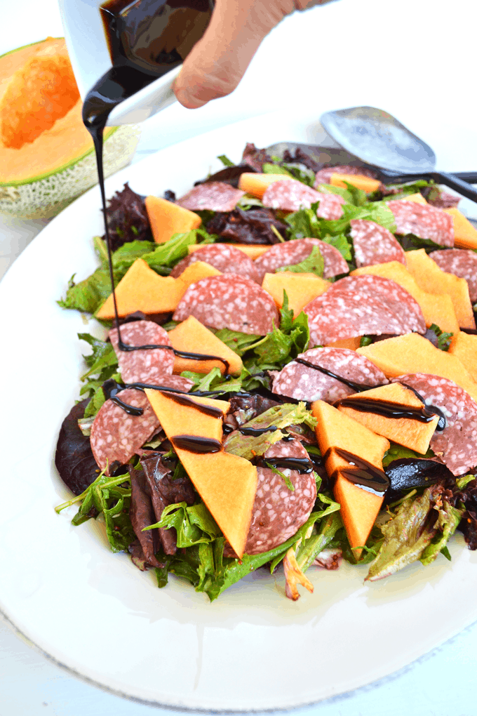 Cantaloupe & Salami Salad