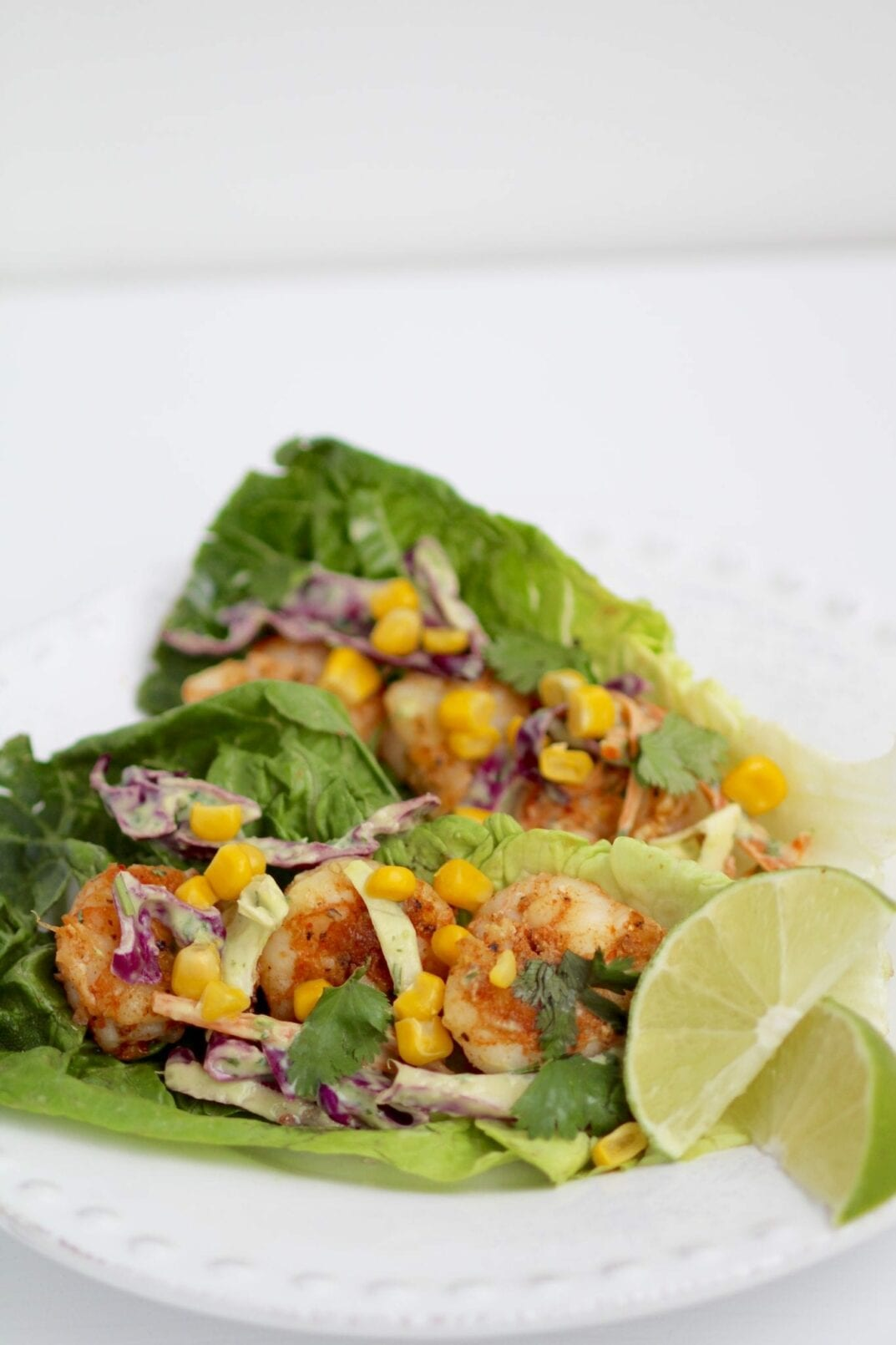 spicy, cilantro lime shrimp taco lettuce wraps