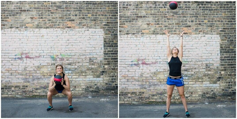 medicine ball squat and toss
