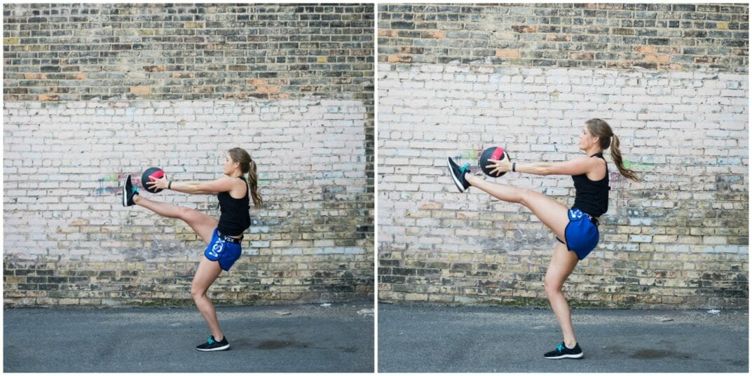 medicine ball standing toe touches