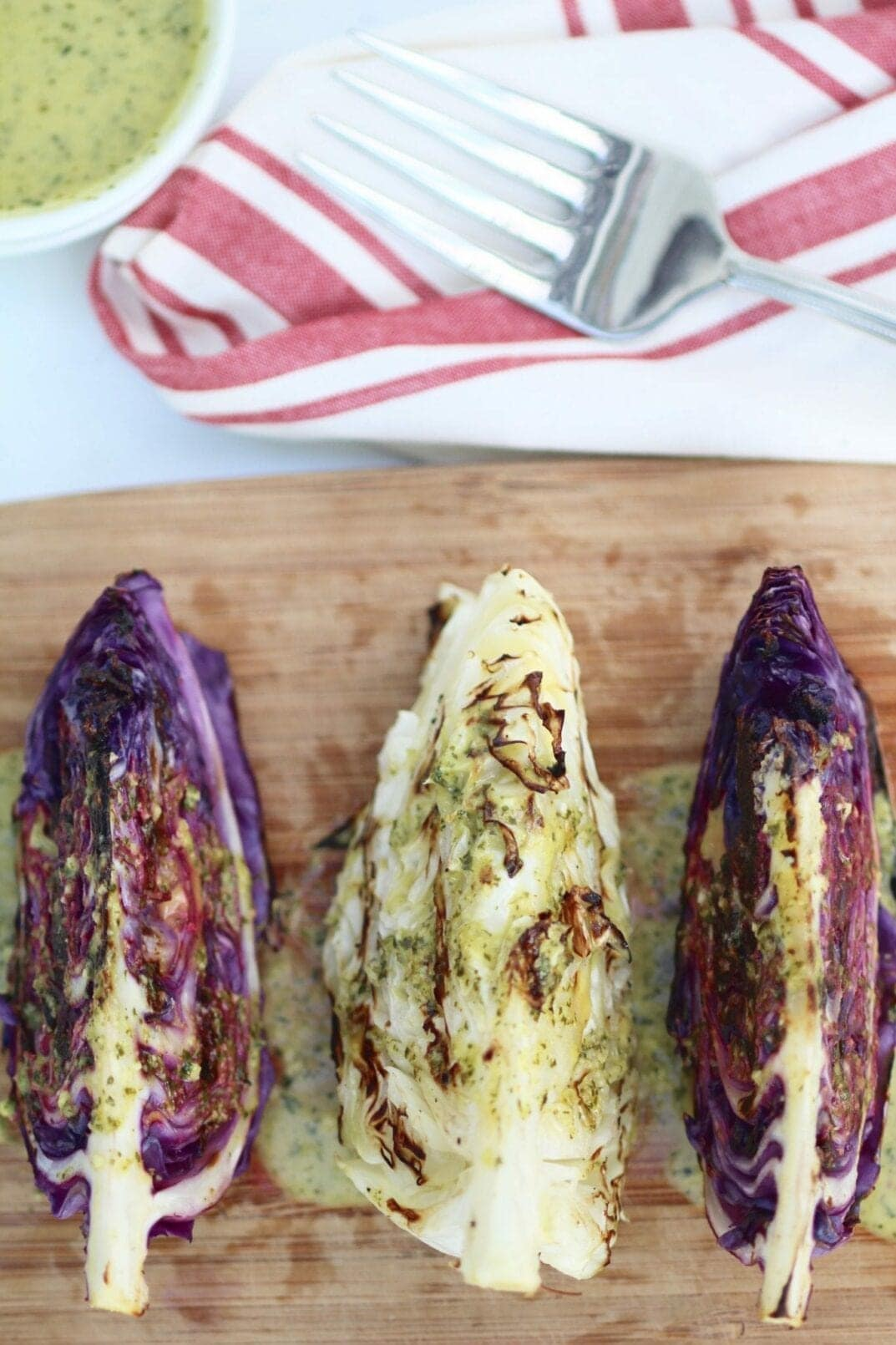 grilled cabbage steaks with spicy cilantro-lime dressing | www.nourishmovelove.com