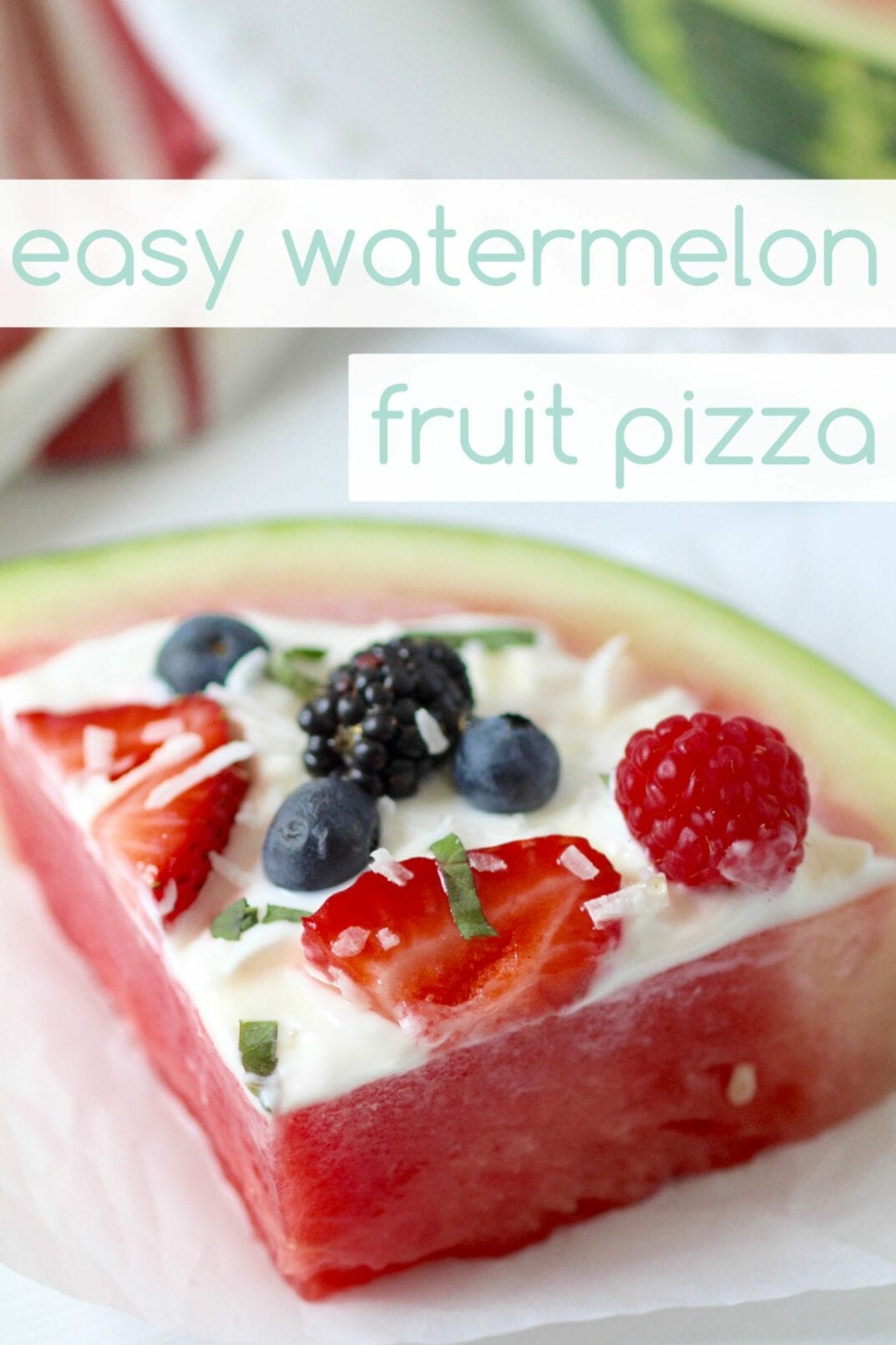easy watermelon and berry fruit pizza | fruit pizza made with watermelon, berries and greek yogurt; healthy, delicious, and so easy even the kids can make it in 5 minutes or less! | www.nourishmovelove.com