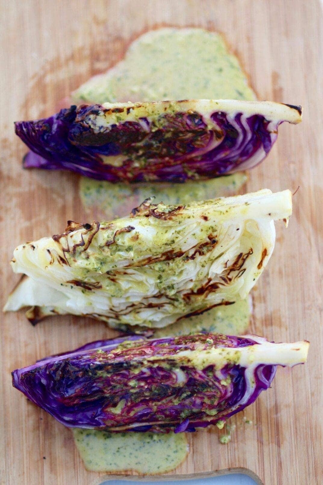 grilled cabbage steaks with spicy cilantro-lime dressing