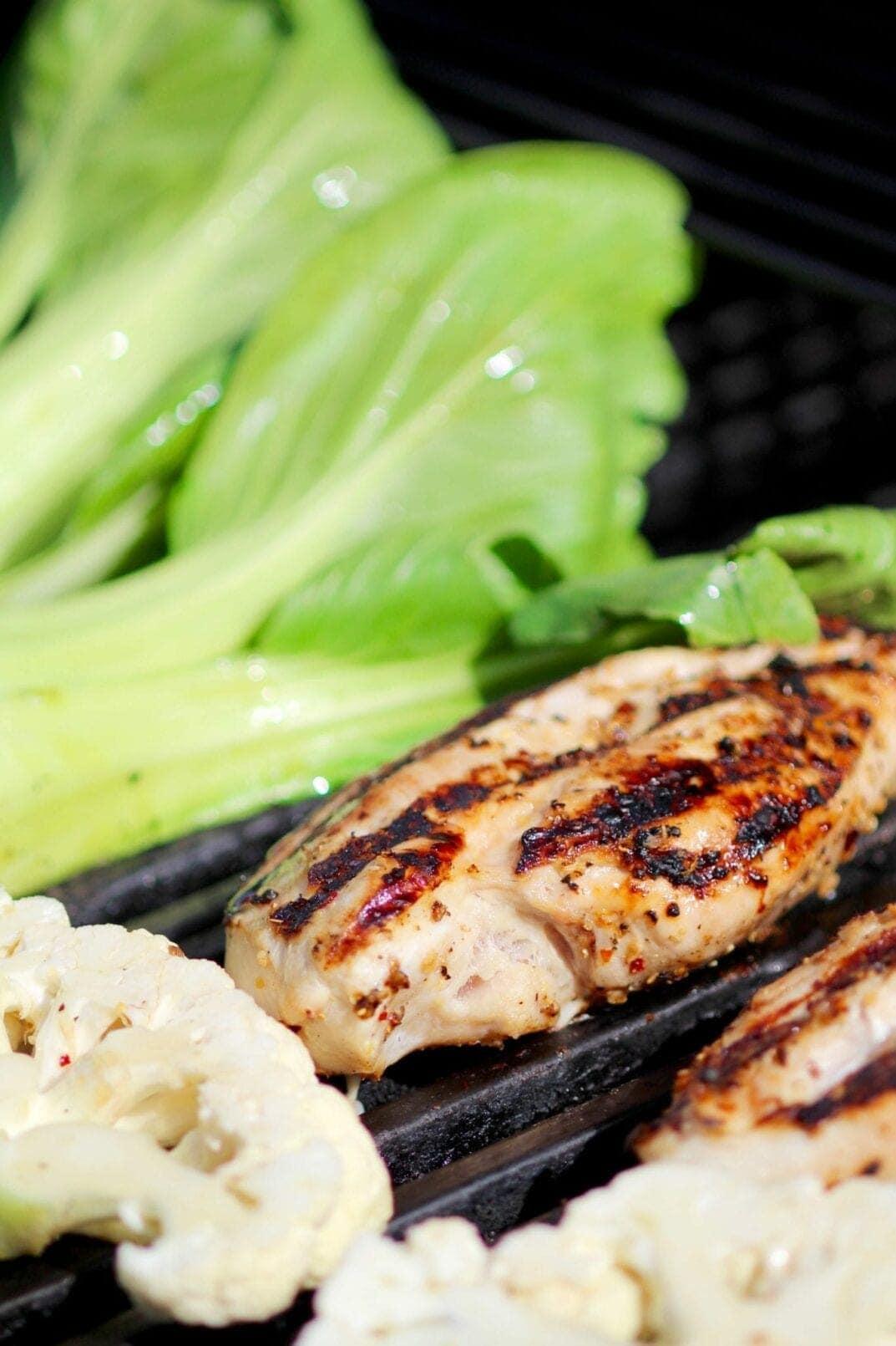 grilled bok choy + sesame chicken dinner | www.nourishmovelove.com