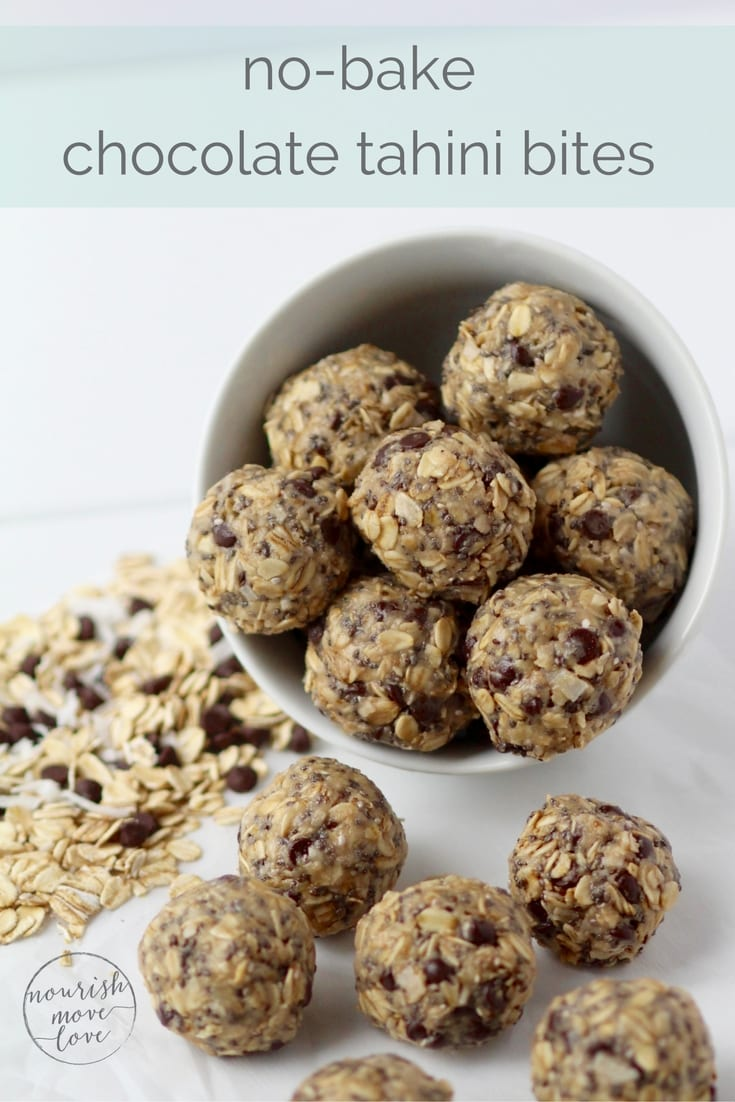 no-bake chocolate tahini energy bites | nourishmovelove.com
