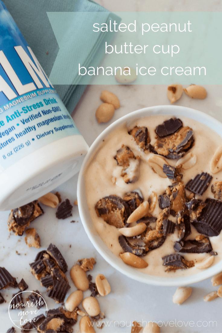 salted peanut butter cup banana ice cream | www.nourishmovelove.com