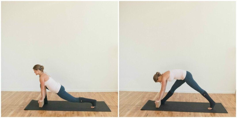 low lunge on yoga block