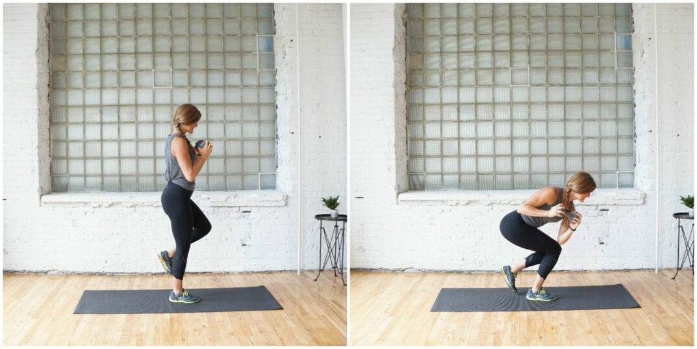 single leg squat and crunch