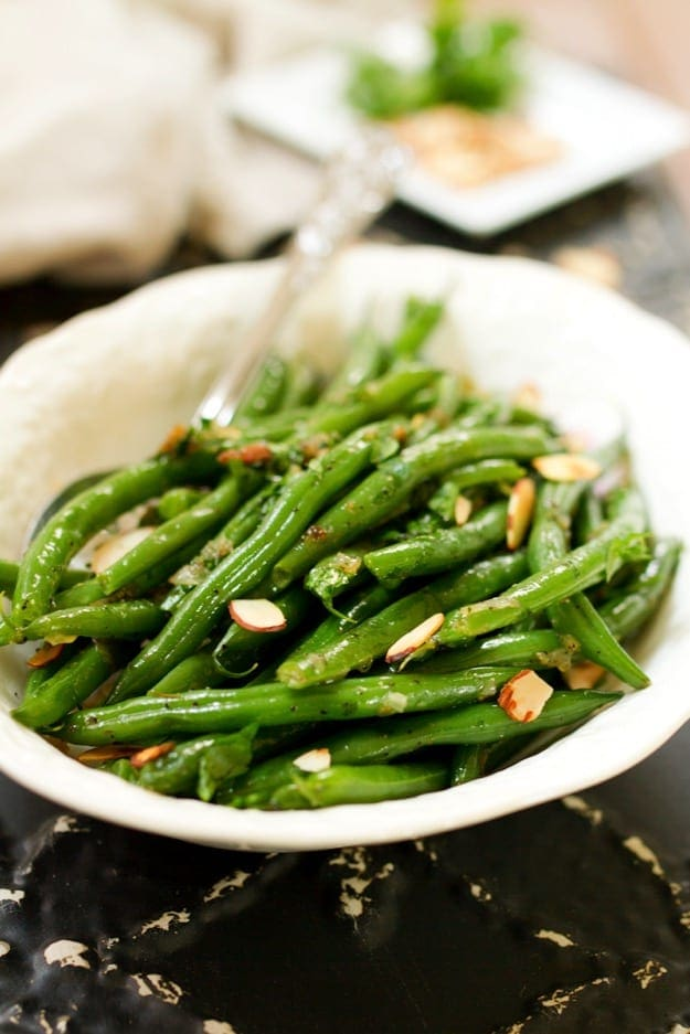 green beans with caramelized shallots + almonds