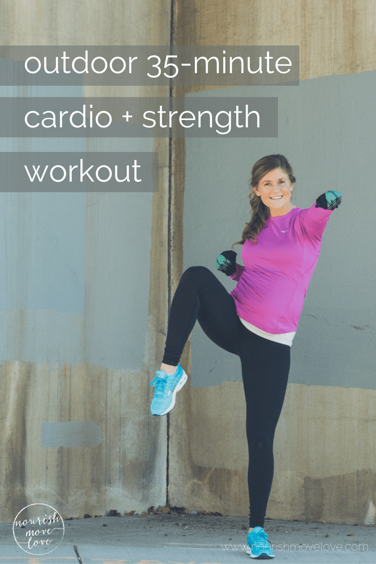 outdoor 35-minute cardio and strength circuit workout | nourishmovelove.com
