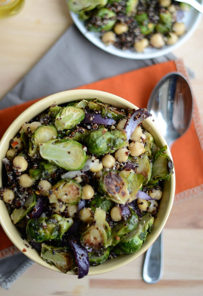roasted brussels sprouts + quinoa salad