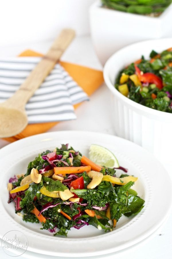 Thai Kale Salad with Ginger Lemongrass Vinaigrette