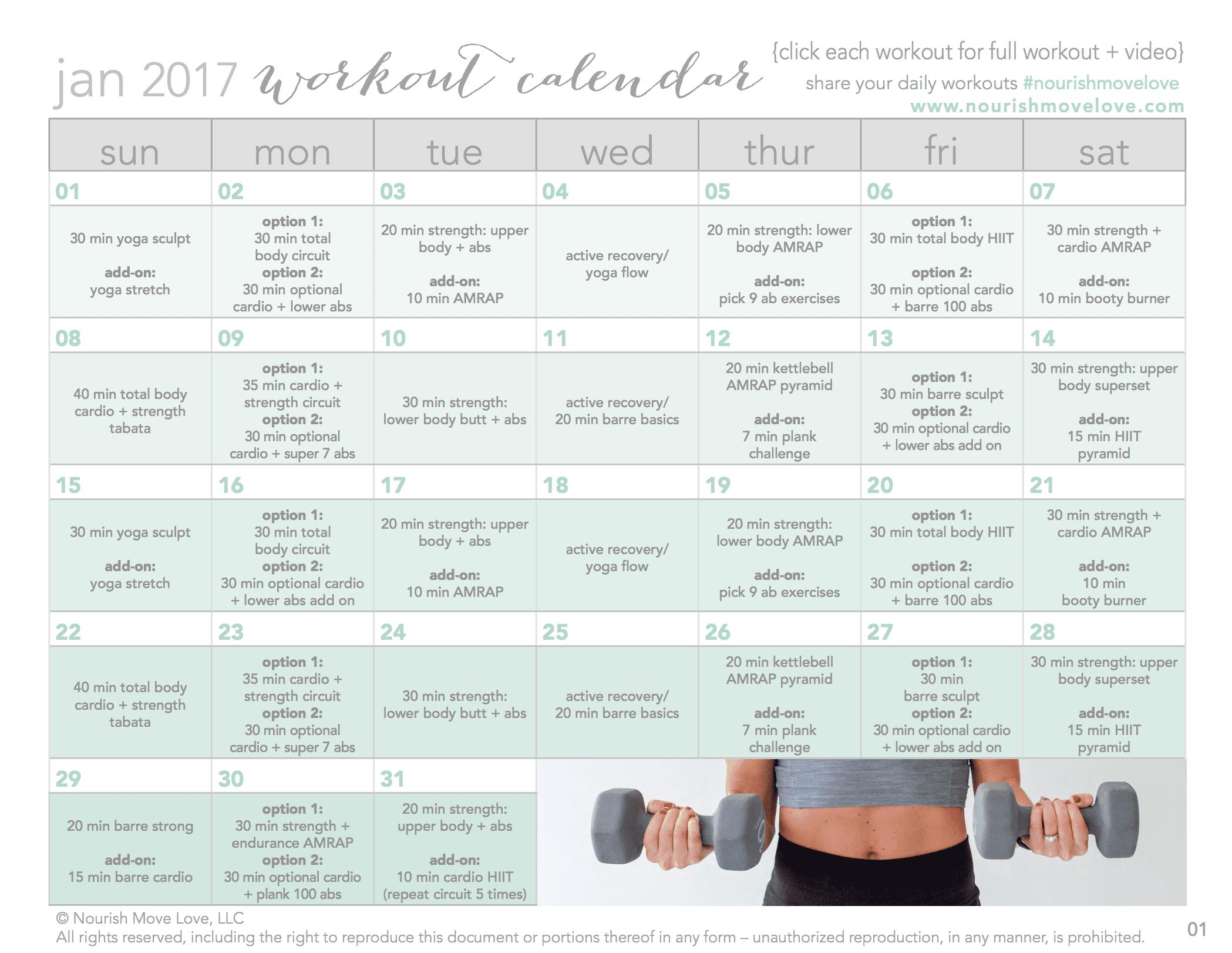 day workout calendar free workouts videos