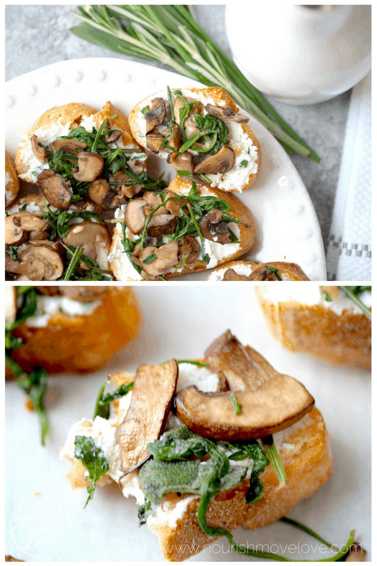 herb roasted mushroom + goat cheese crostini collage