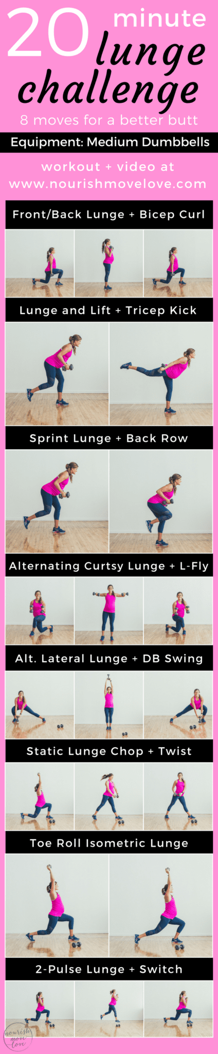 20 minute lunge challenge for a better butt | www.nourishmovelove.com