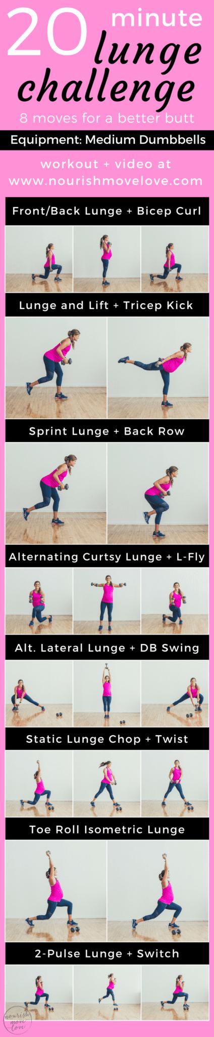 20 minute lunge challenge for a better butt | www.nourishmovelove.com