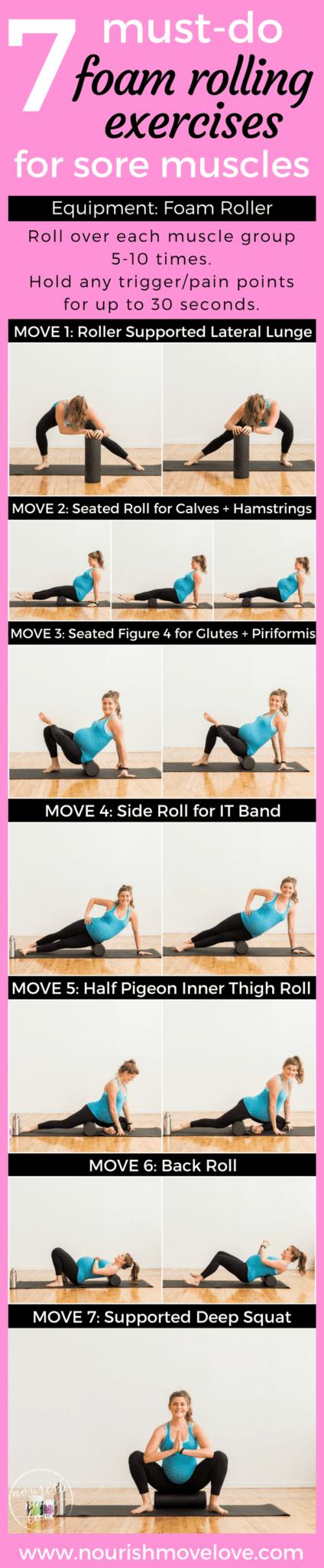 7 Must-Do Foam Rolling Exercises for Sore Muscles | www.nourishmovelove.com
