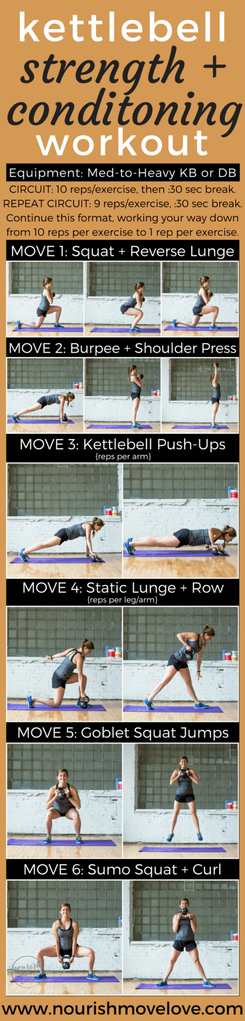 Strength + Conditioning Kettlebell Workout | www.nourishmovelove.com