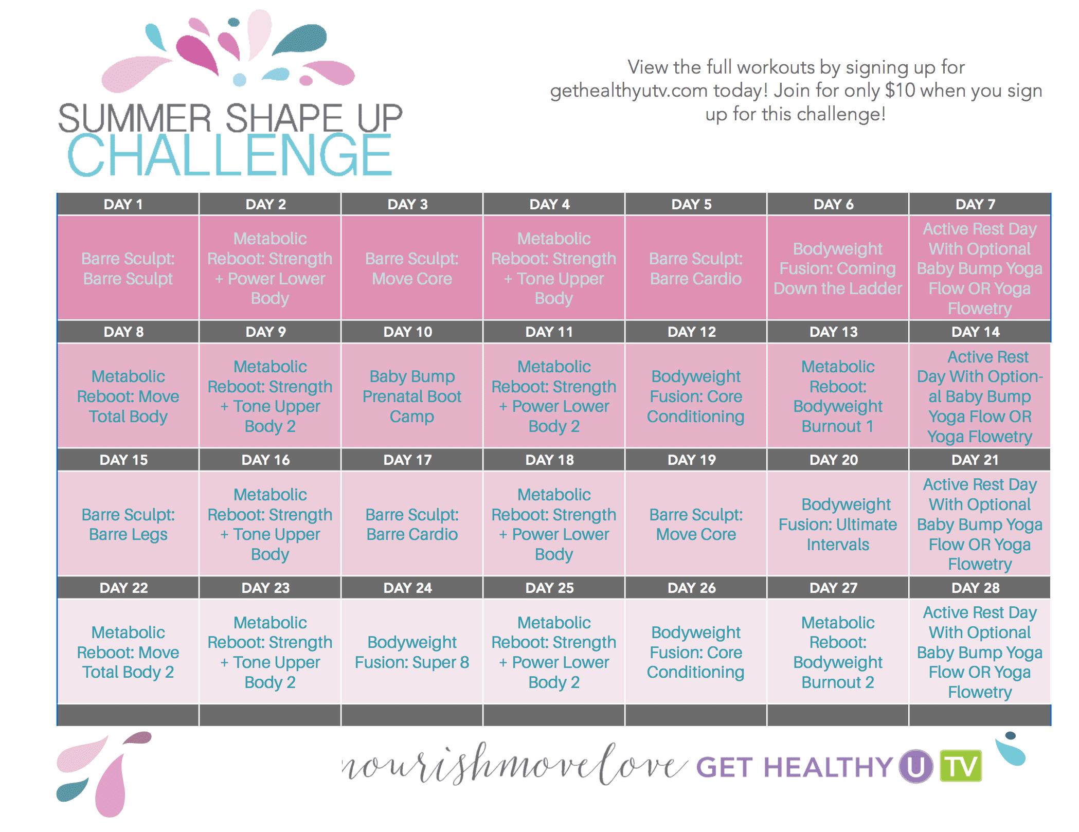 Summer Shape Up 28-Day Workout Calendar