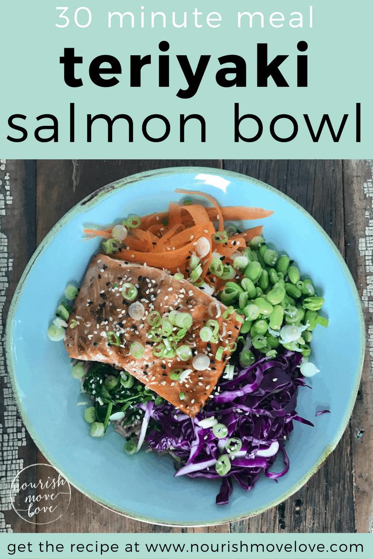 30 Minute Teriyaki Salmon Bowl | www.nourishmovelove.com