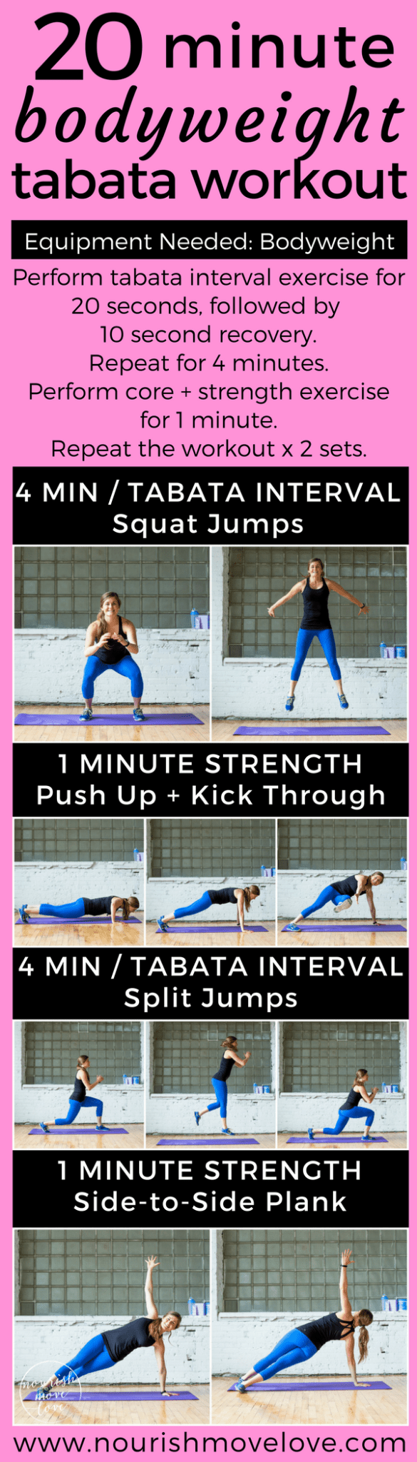 20-Minute Bodyweight Tabata Workout | www.nourishmovelove.com