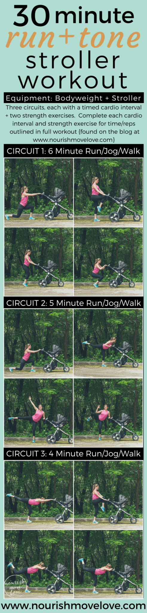 30 Minute Run + Tone Stroller Workout | www.nourishmovelove.com