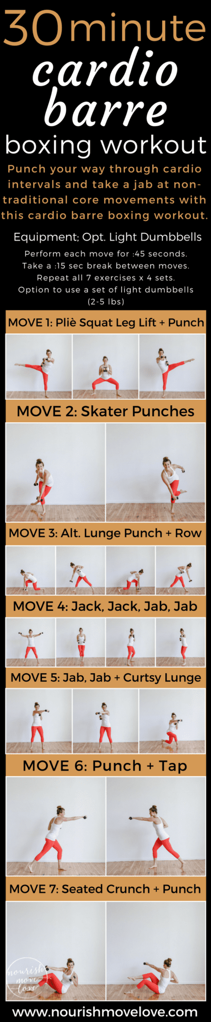 30-Minute Cardio Barre Boxing Workout | www.nourishmovelove.com