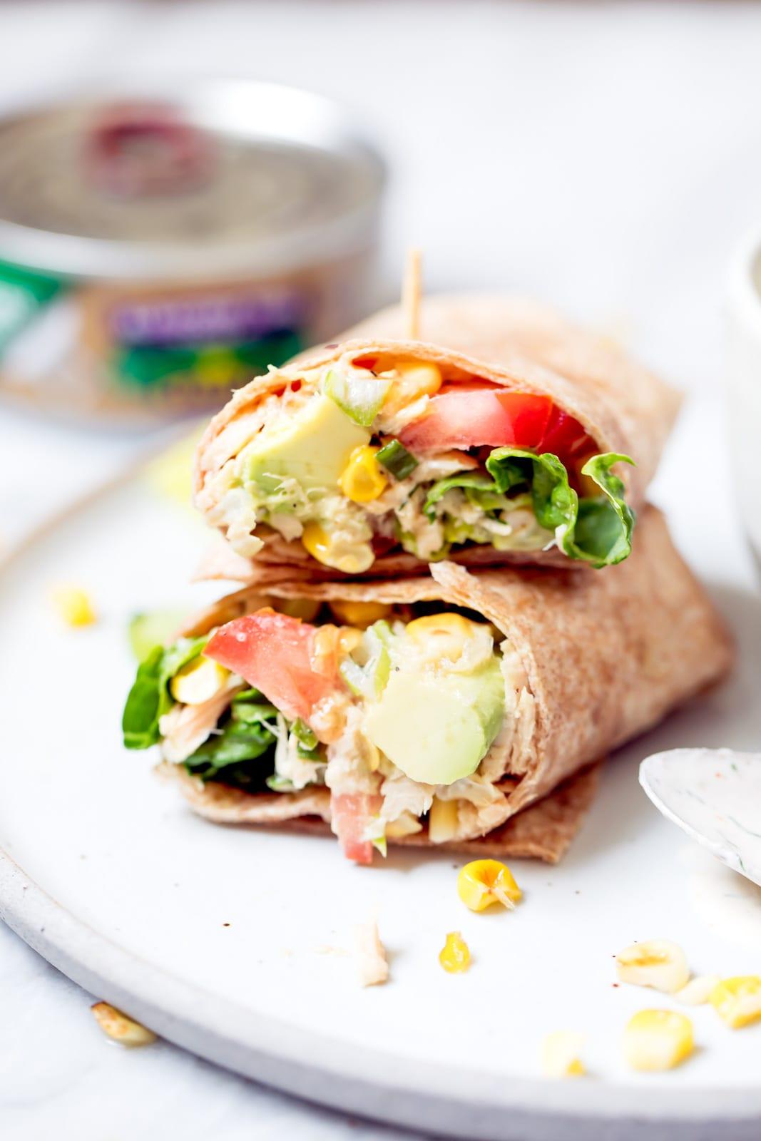 Spicy Tuna Wraps with Homemade Greek Yogurt Ranch
