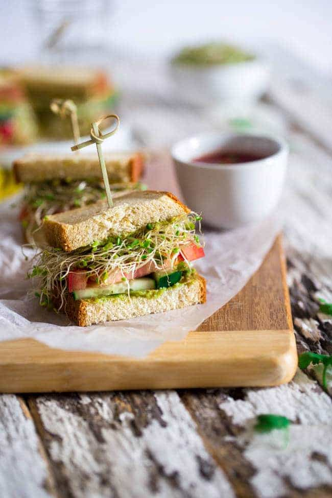 Mexican Avocado Spread Sandwiches with Sprouts