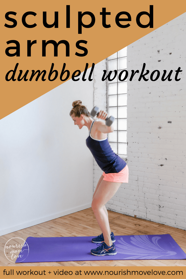 sculpted arms dumbbell workout | www.nourishmovelove.com