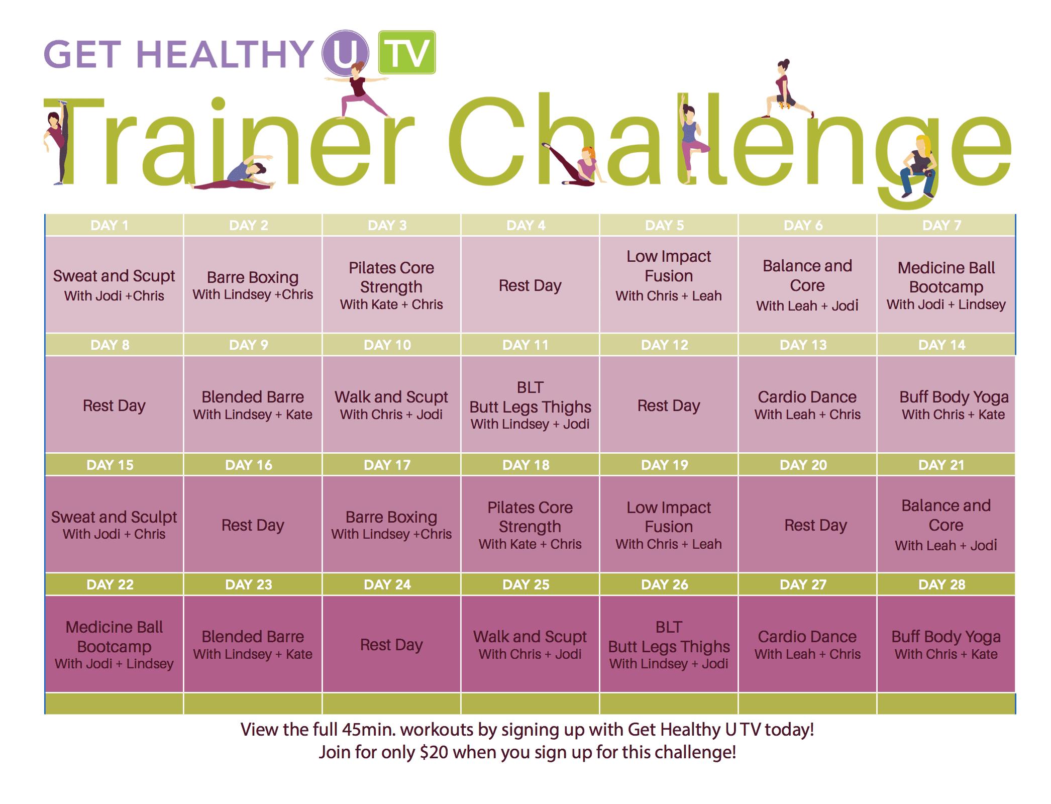 GHUTV Trainer Challenge Calendar