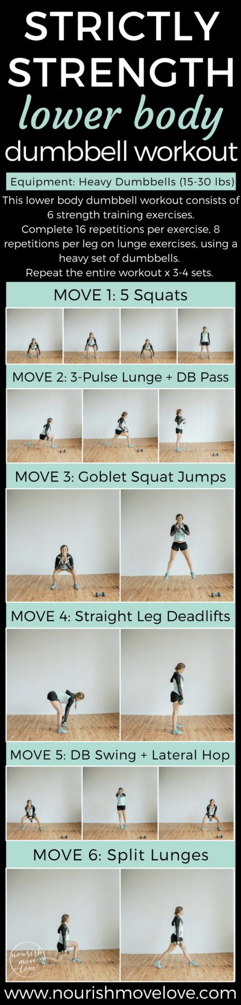 Strictly Strength Lower Body Dumbbell Workout | www.nourishmovelove.com