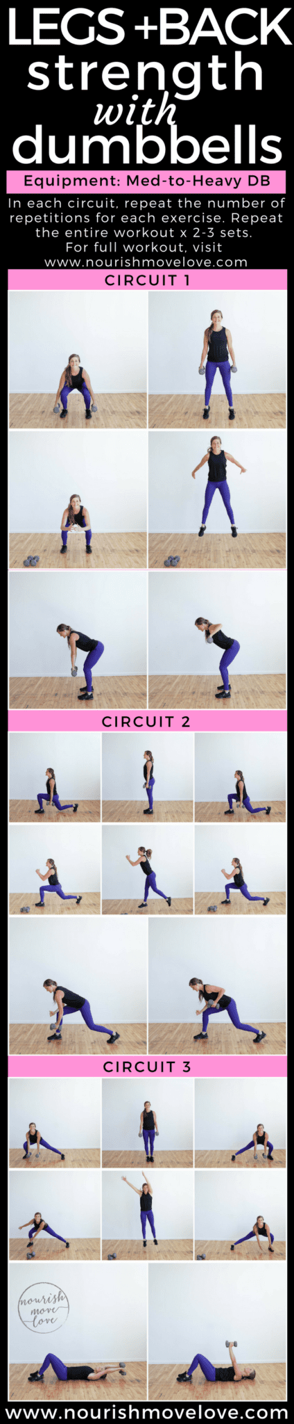 Legs + Back Strength Workout with Cardio | www.nourishmovelove.com