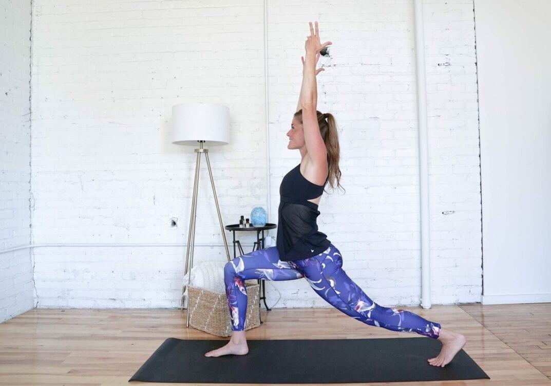 Crescent Lunge Hold   Cardio Yoga Workout   www.nourishmovelove.com