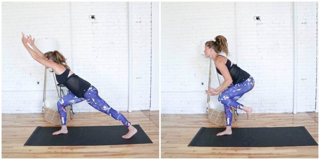 Crescent Lunge Knee Drives | Cardio Yoga Workout | www.nourishmovelove.com