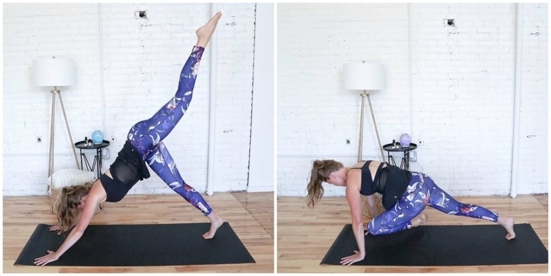 Down Dog Pigeon Taps | Cardio Yoga Workout | www.nourishmovelove.com