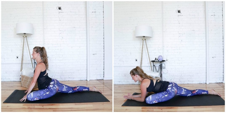 Pigeon Pose Hold | Cardio Yoga Workout | www.nourishmovelove.com