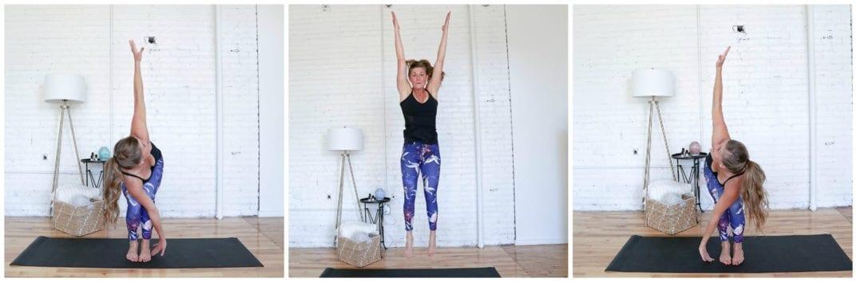 Revolved Chair Jumps   Cardio Yoga Workout   www.nourishmovelove.com