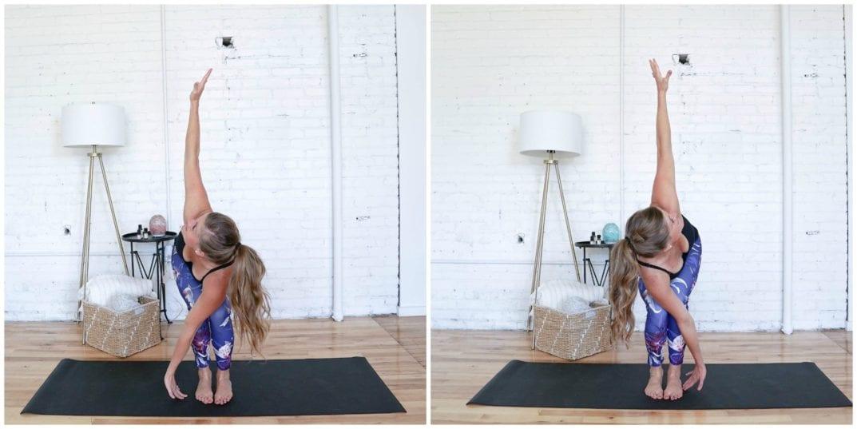 Revolved Chair Hold   Cardio Yoga Workout   www.nourishmovelove.com