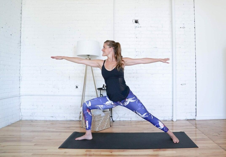 Warrior II Hold   Cardio Yoga Workout   www.nourishmovelove.com