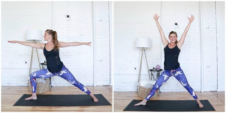 Warrior II Windmill Jacks   Cardio Yoga Workout   www.nourishmovelove.com