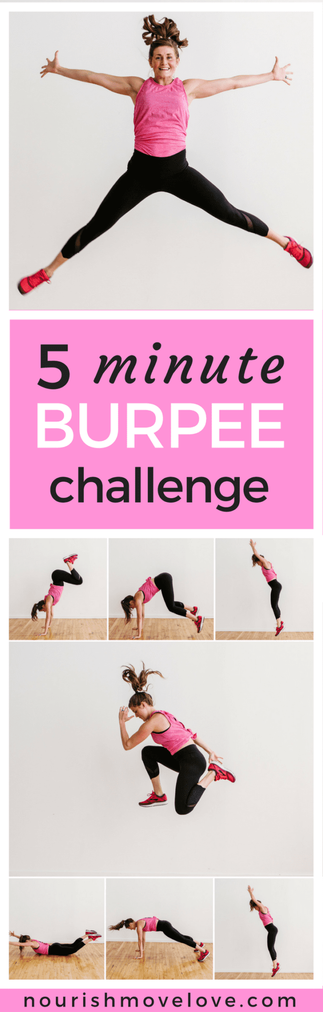 5 Minute Burpee Challenge   www.nourishmovelove.com
