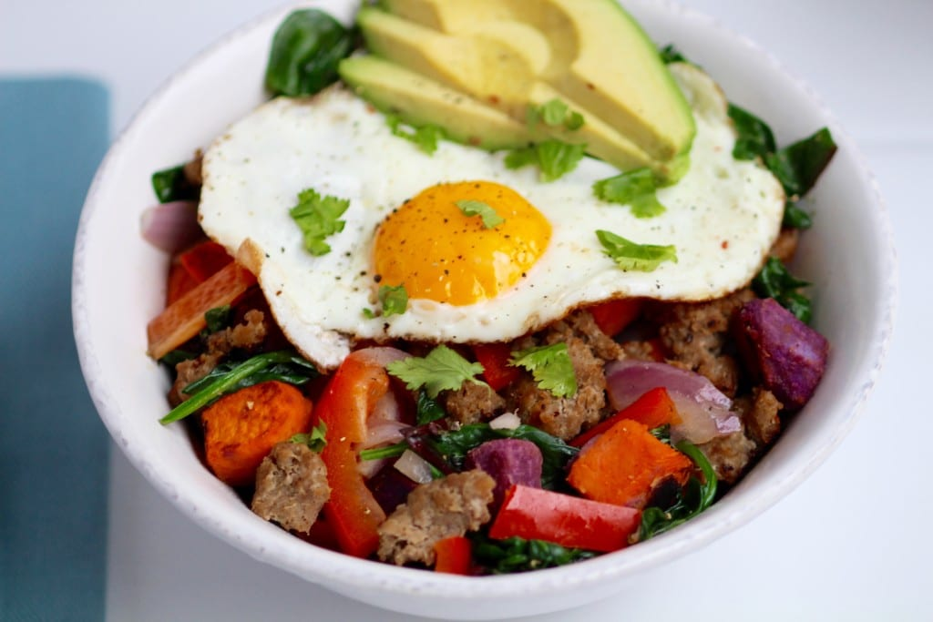 Savory sweet potato, turkey sausage egg bowl