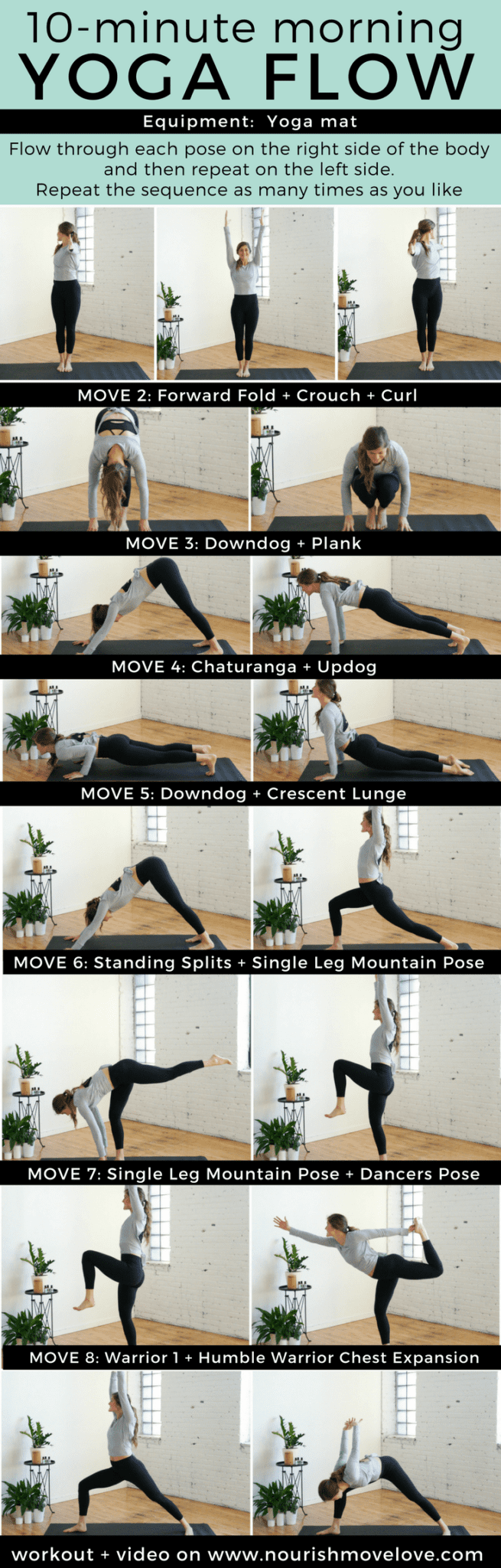10-Minute Morning Yoga Flow for Beginners | www.nourishmovelove.com