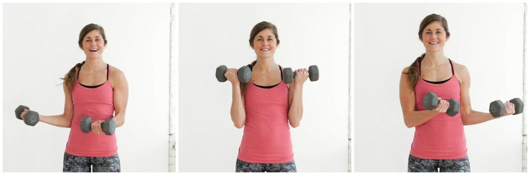 Around the World Bicep Curl Exercise | upper body HIIT Workout | www.nourishmovelove.com