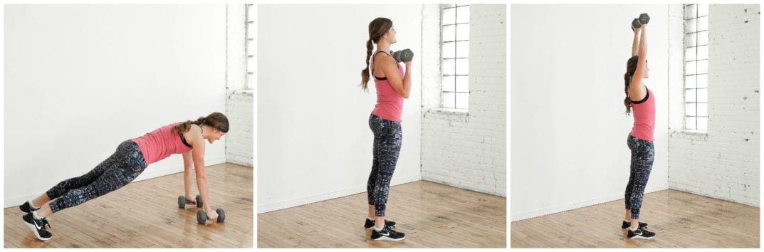 Burpee Curl and Press Exercise | upper body HIIT Workout | www.nourishmovelove.com