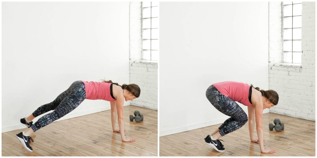 Plank Jack and Tuck Exercise | upper body HIIT Workout | www.nourishmovelove.com