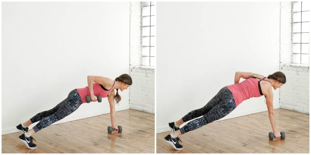 Renegade Row Exercise | upper body HIIT Workout | www.nourishmovelove.com