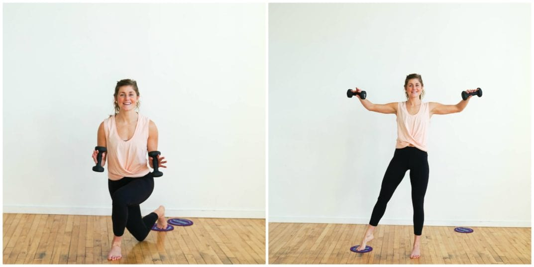 Curtsy Lunge to L-fly | Slider Barre Workout